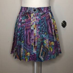 Vintage 80's abstract pleated tennis skirt